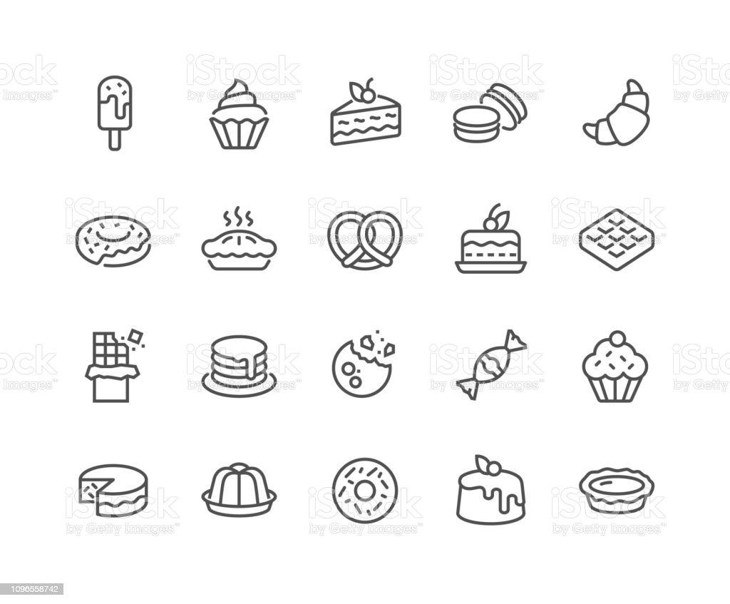 Line Dessert Icons - Grafika wektorowa royalty-free (Białoruś)