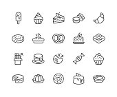 Simple Set of Dessert Related Vector Line Icons. \nContains such Icons as Macarons, Bagel, Sweet Waffle and more.\nEditable Stroke. 48x48 Pixel Perfect.