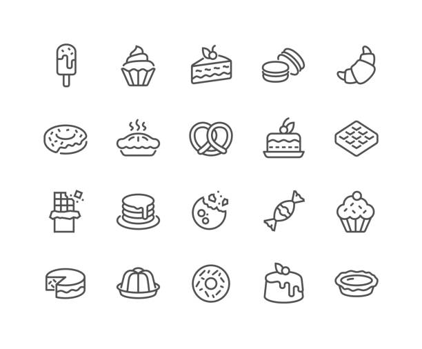 Line Dessert Icons Simple Set of Dessert Related Vector Line Icons.  Contains such Icons as Macarons, Bagel, Sweet Waffle and more. Editable Stroke. 48x48 Pixel Perfect. candy patterns stock illustrations