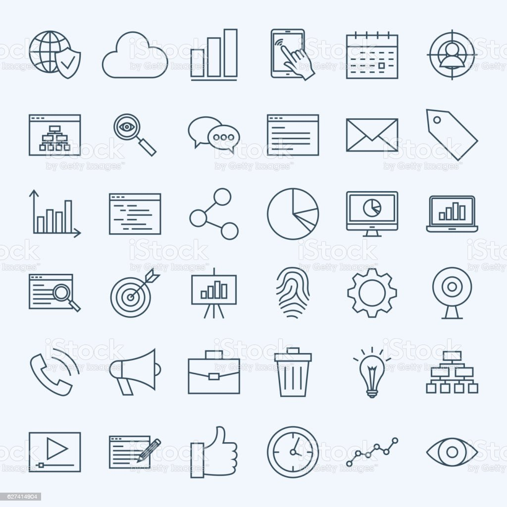Line Development Icons vector art illustration