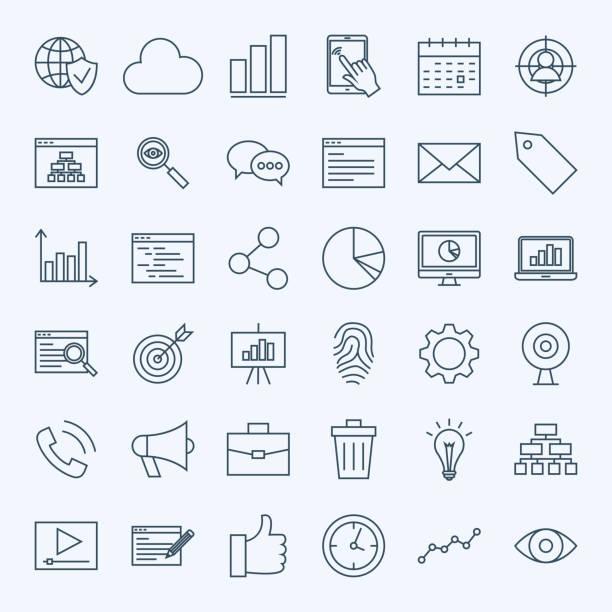 Line Development Icons - illustrazione arte vettoriale