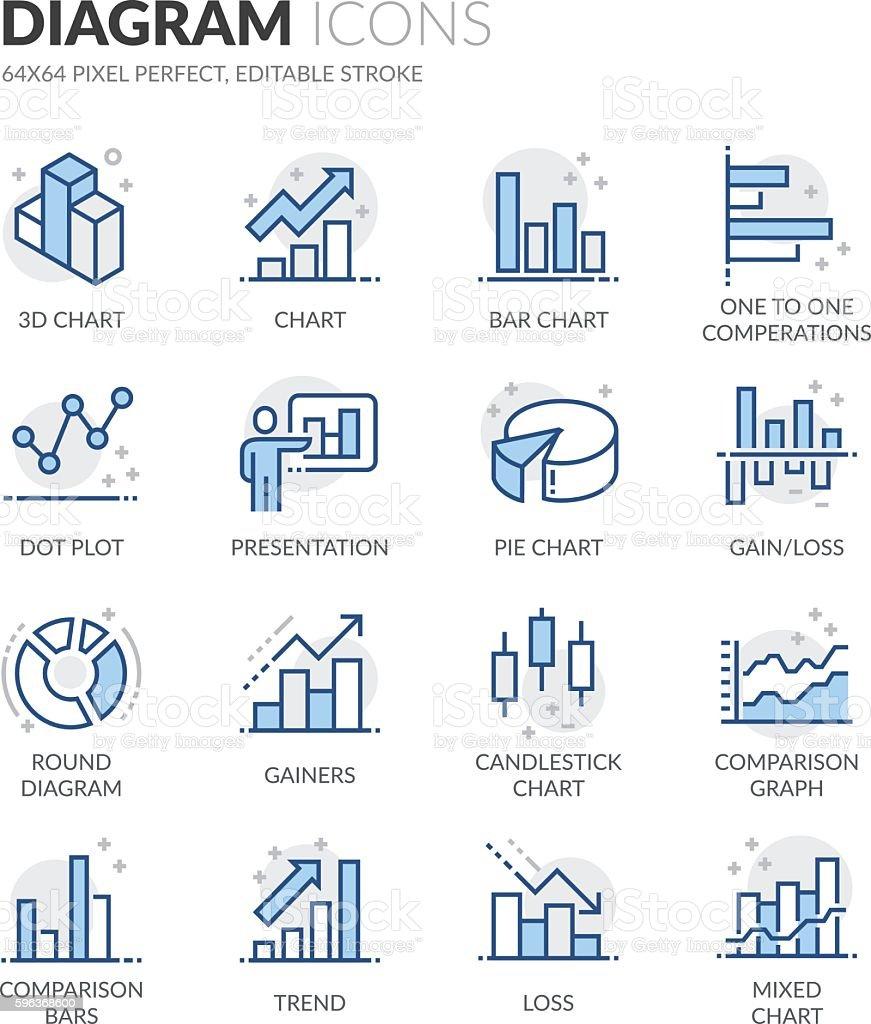 Line Diagram Icons - Illustration vectorielle