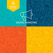 Line Digital Marketing Patterns. Four Vector Website Design Backgrounds.