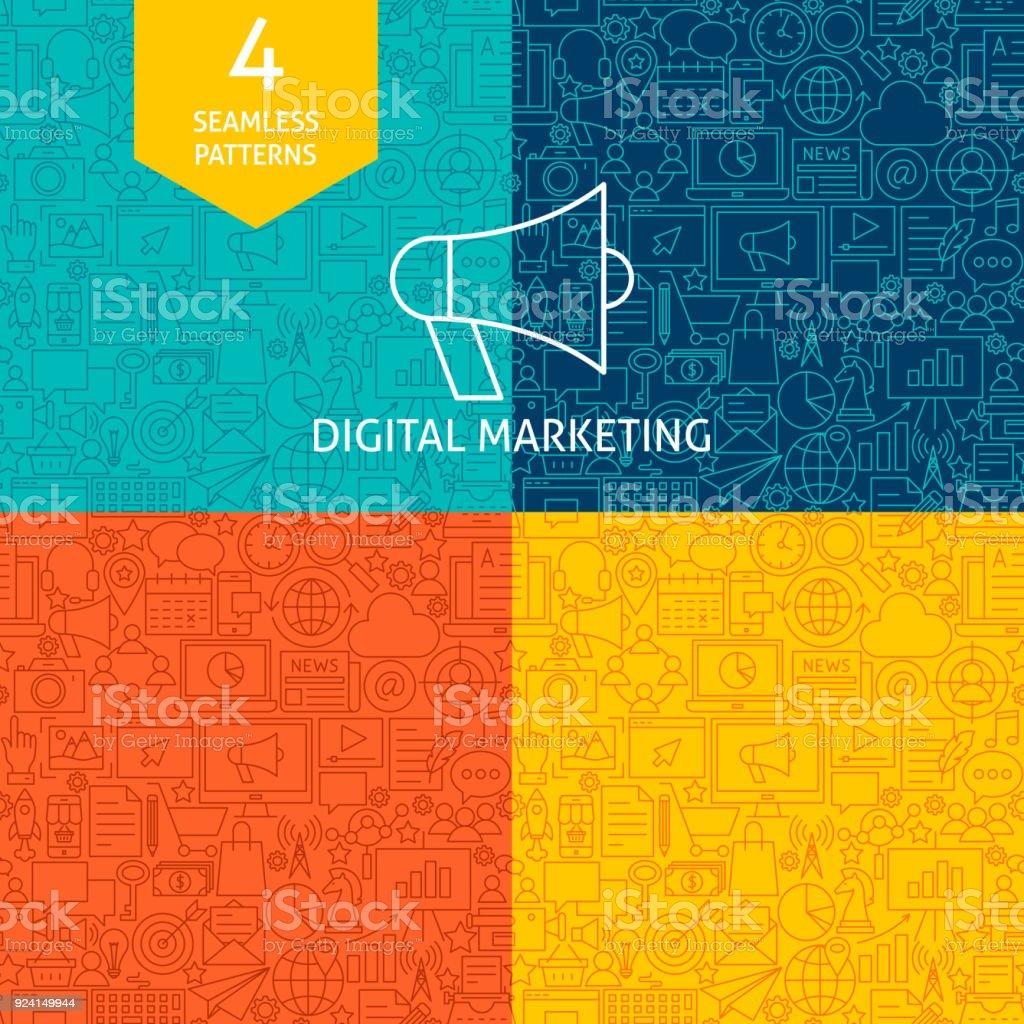 Padrões de Marketing Digital da linha - ilustração de arte em vetor