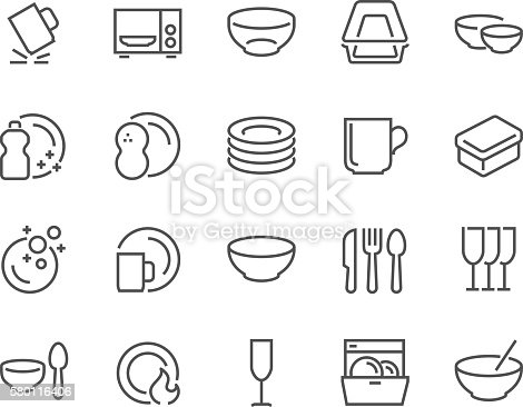 istock Line Dish and Plates Icons 580116406
