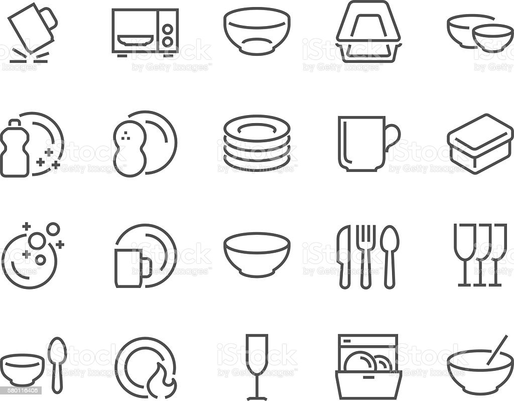 Line Dish and Plates Icons vector art illustration