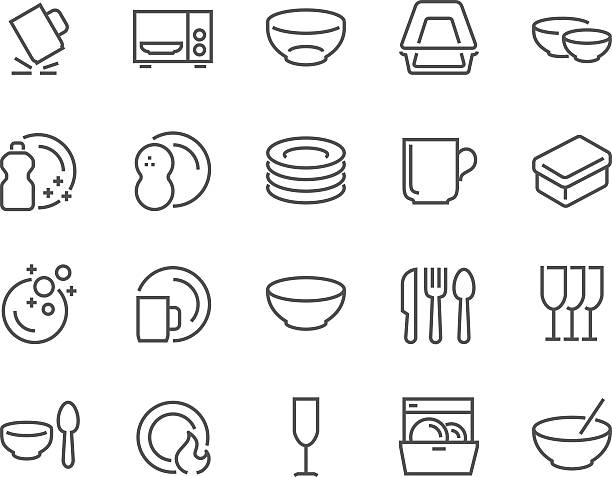 stockillustraties, clipart, cartoons en iconen met line dish and plates icons - bord serviesgoed
