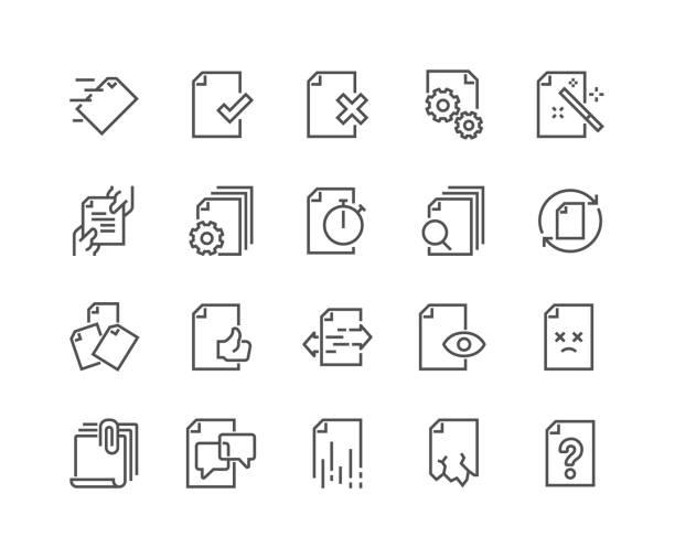 stockillustraties, clipart, cartoons en iconen met lijn documentpictogrammen flow management - versturen