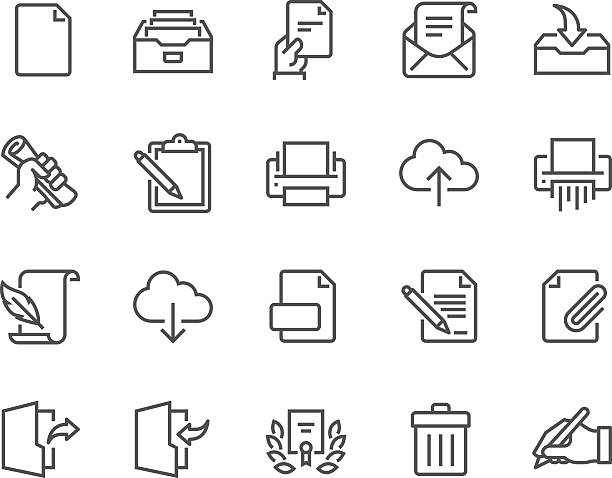 bildbanksillustrationer, clip art samt tecknat material och ikoner med line document icons - pen paper sign