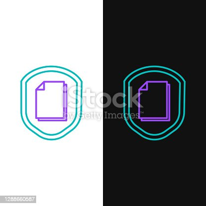 istock Line Document protection concept icon isolated on white and black background. Confidential information and privacy idea, secure, guard, shield. Colorful outline concept. Vector 1288660587