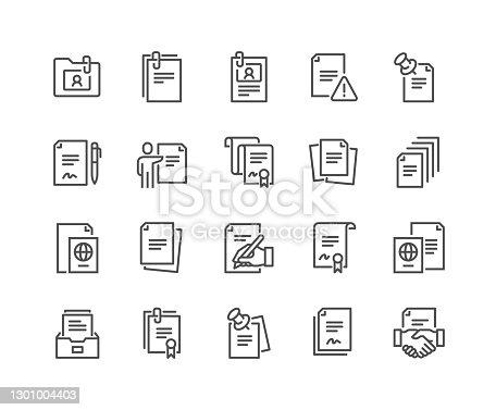 istock Line Documents Icons 1301004403