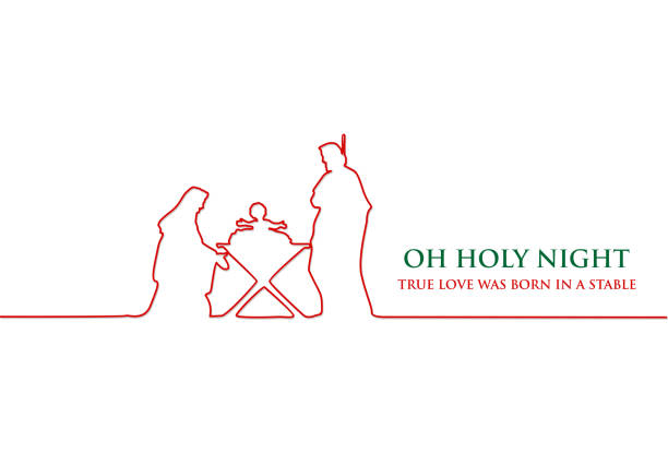 Line drawing, Birth of Christ, Silhouette of Mary, Joseph and Jesus, Vector EPS 10 nativity silhouette stock illustrations