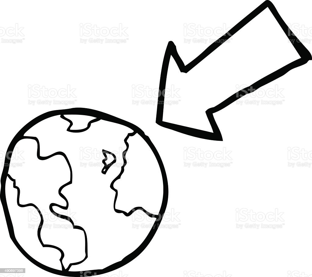 line drawing cartoon arrow pointing at earth stock vector art more
