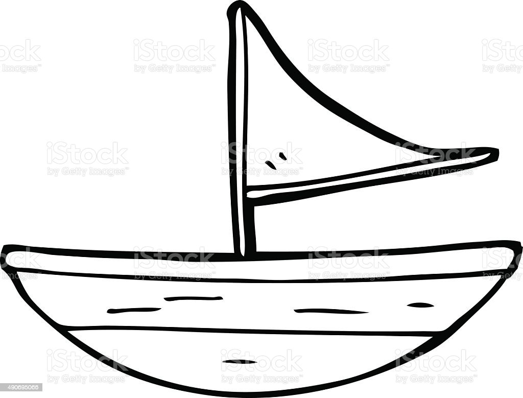 Line Art Boat : Line drawing cartoon boat stock vector art more images