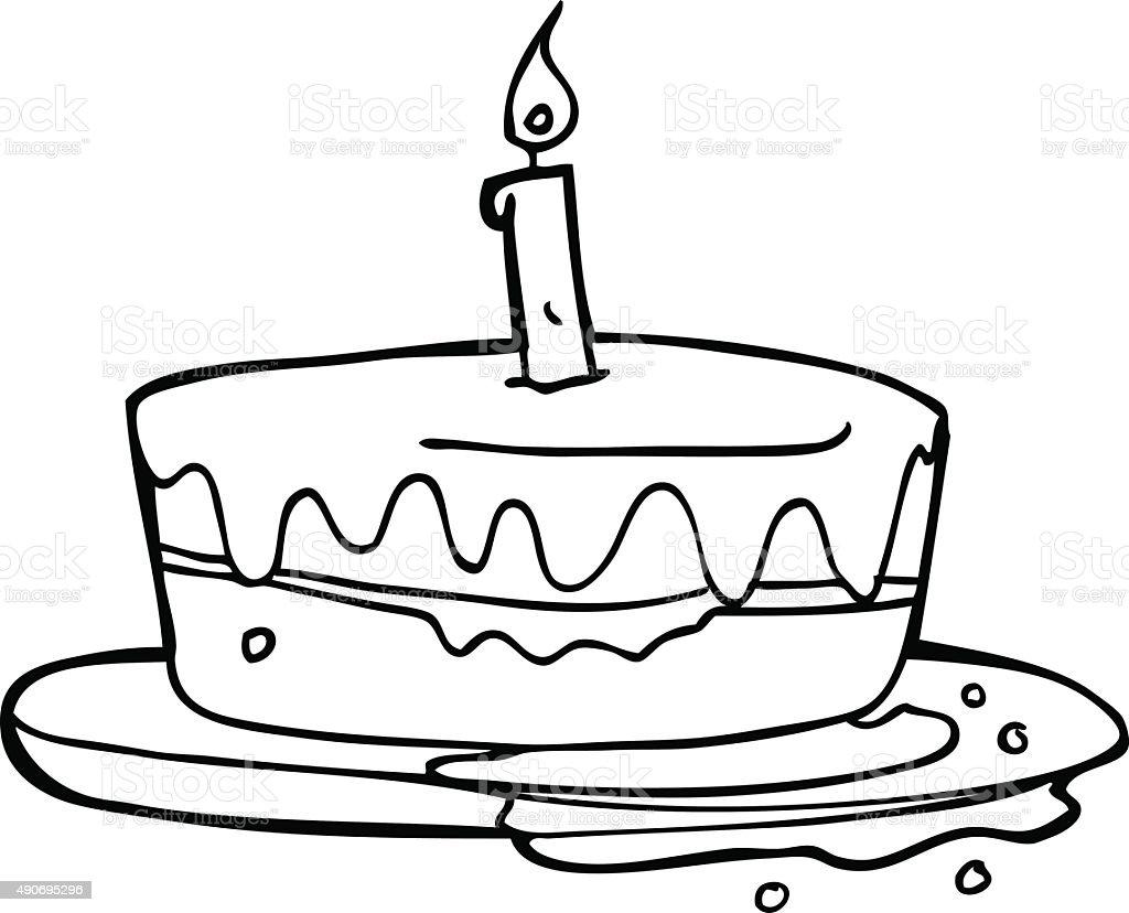 Line Drawing Cake : Ilustración de dibujos animados pastel illustracion