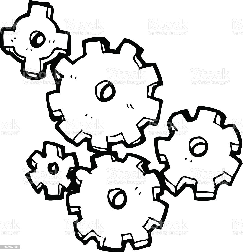 Line Drawing Vector : Line drawing cartoon cogs and gears stock vector art