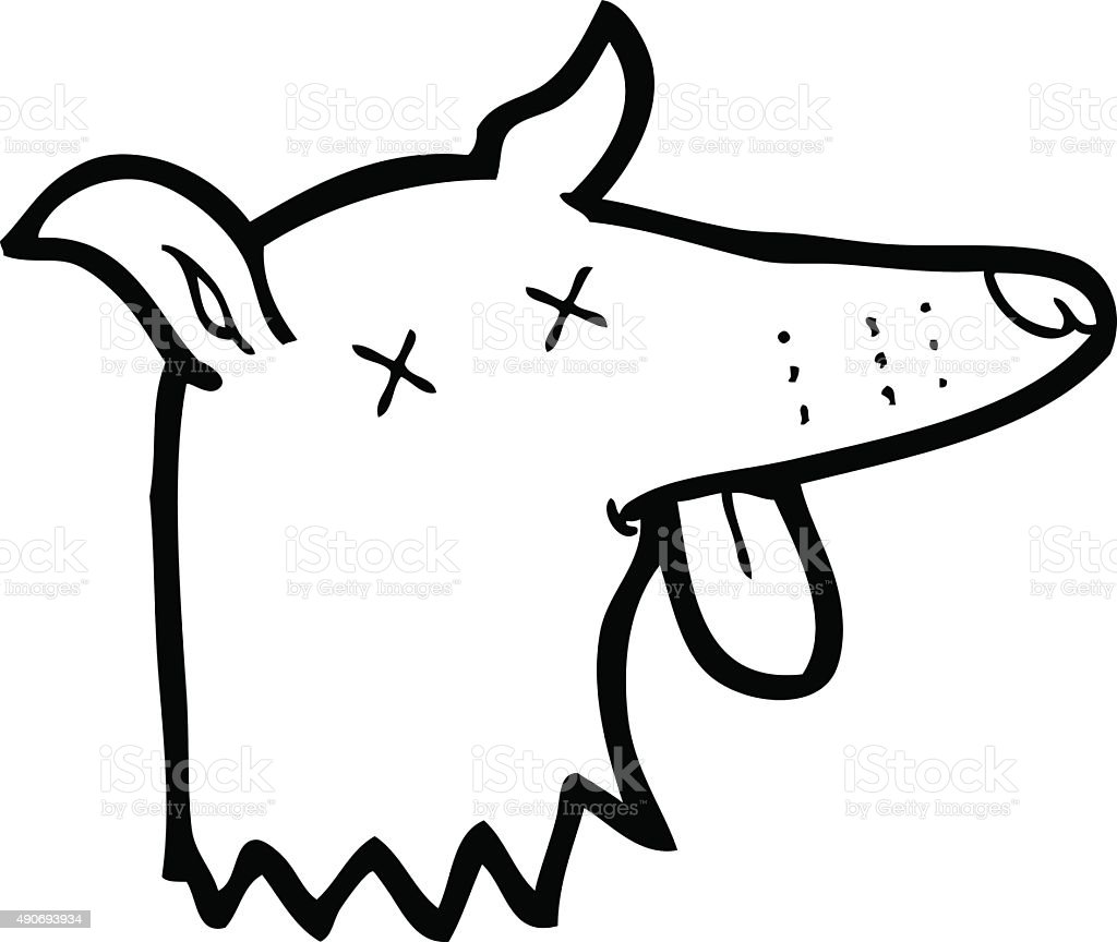 Line Drawing Of A Dog Face : Line drawing cartoon dead dog face stock vector art more