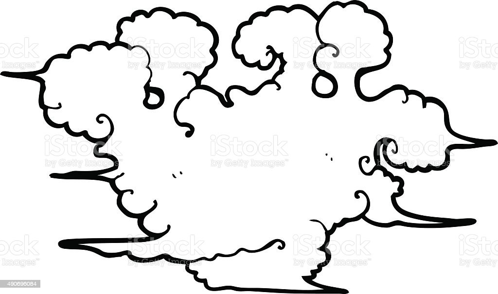 Line Drawing Clouds : Line drawing cartoon gas cloud stock vector art more
