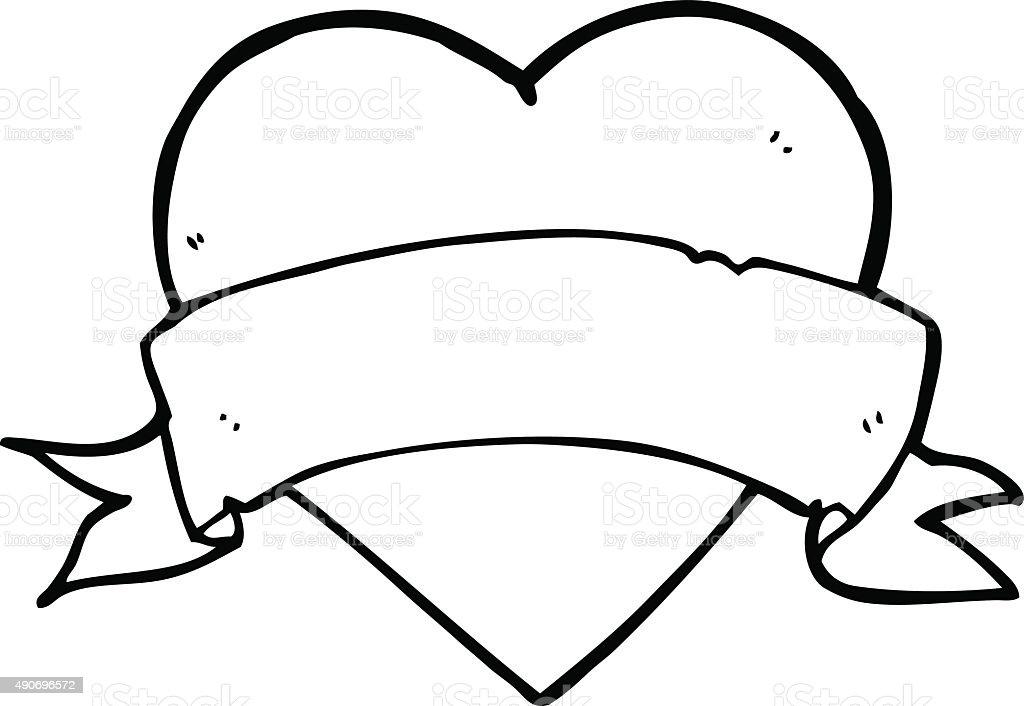 Heart Tattoo Line Drawing : Line drawing cartoon heart tattoo stock vector art more