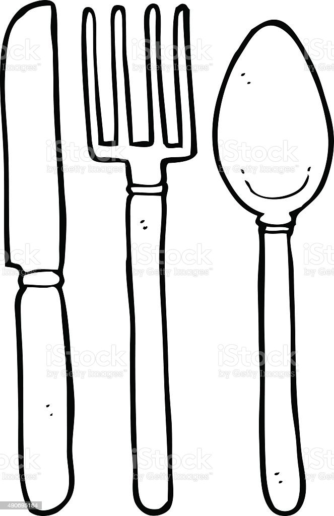 Line drawing cartoon knife fork spoon stock vector art for Art et cuisine chaudron line
