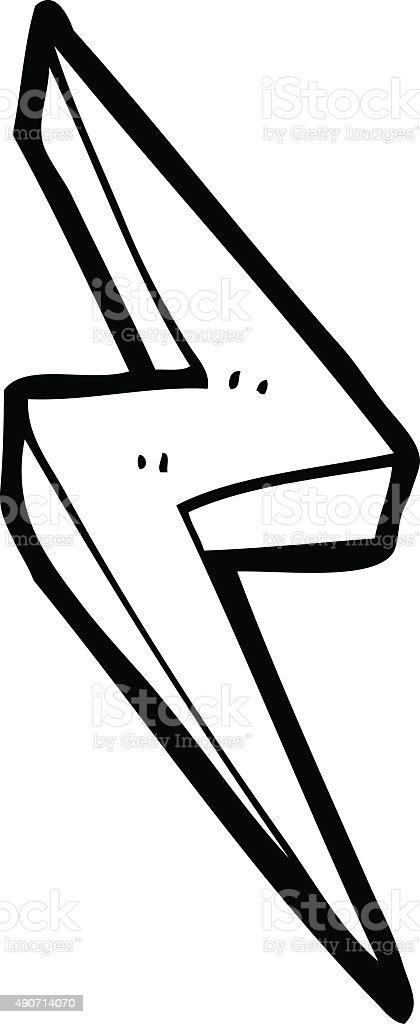 Linea Disegno Fumetto Simbolo Di Fulmine Immagini Vettoriali Stock