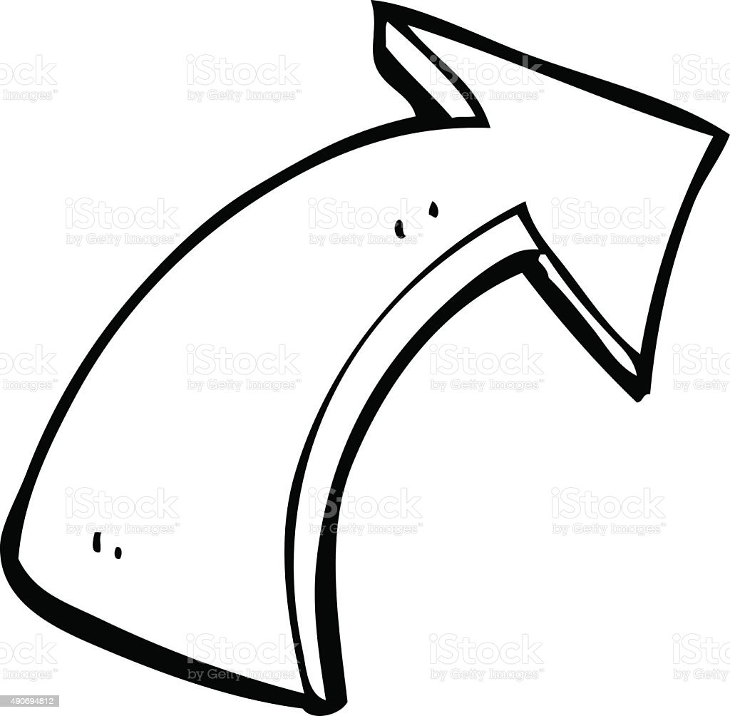 Line Art Arrow : Line drawing cartoon pointing arrows stock vector art