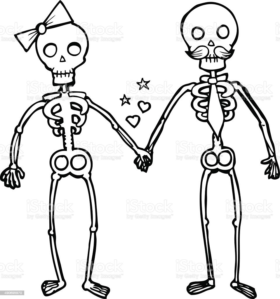 line drawing cartoon  skeletons in love vector art illustration