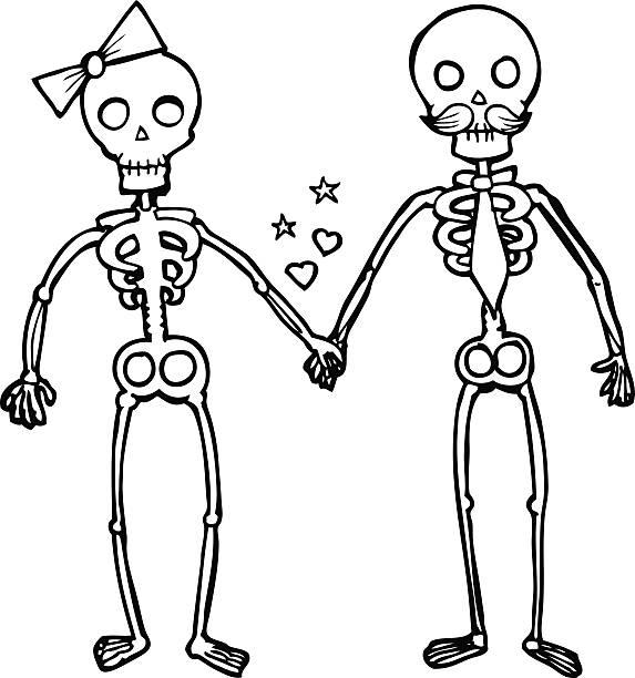 line drawing cartoon  skeletons in love - til death do us part stock illustrations, clip art, cartoons, & icons