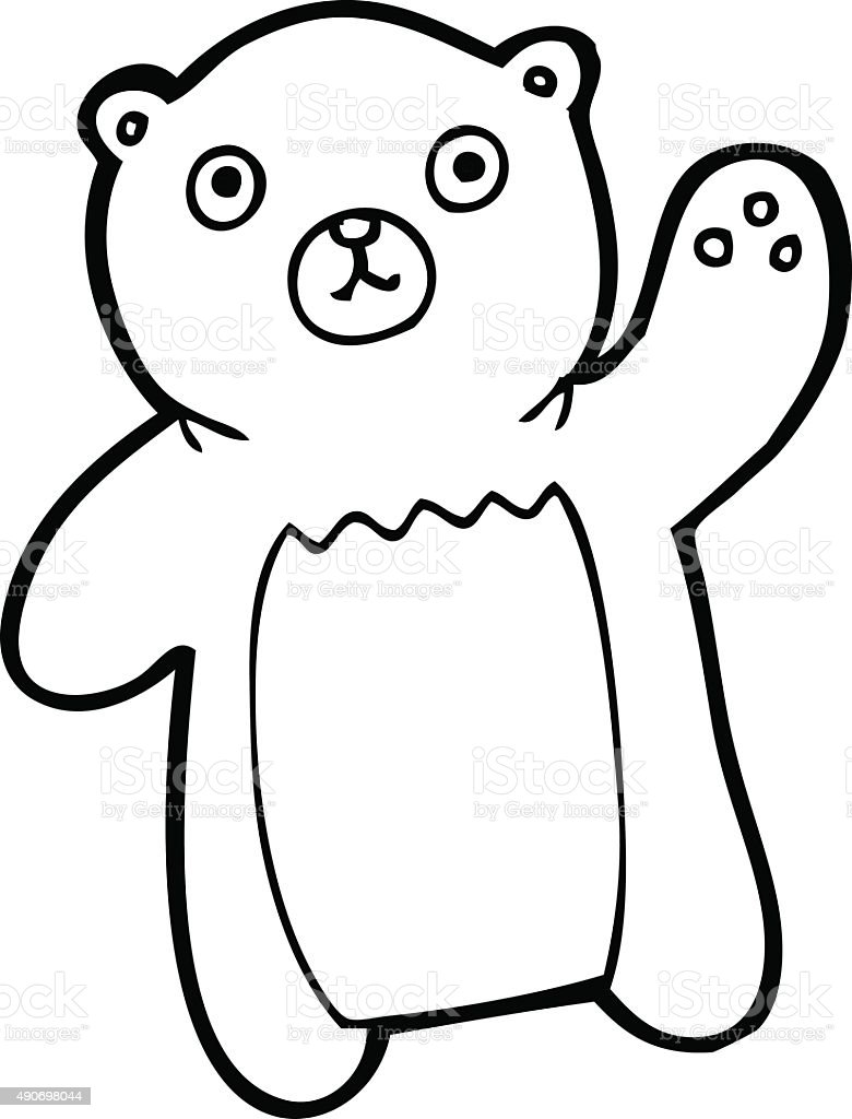 line drawing cartoon waving bear royalty free stock vector art