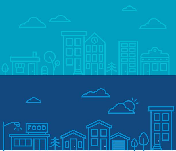 illustrazioni stock, clip art, cartoni animati e icone di tendenza di linea disegno città quinte - grocery home