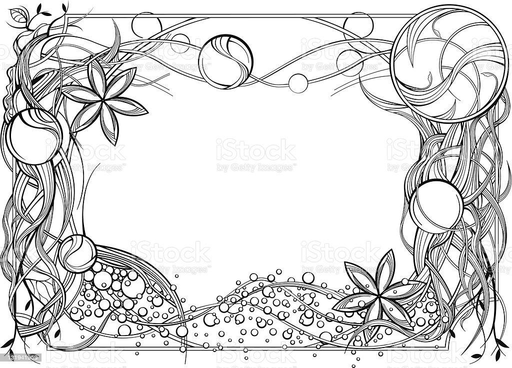 Flower Frame Line Drawing : Line drawing frame stock vector art more images of
