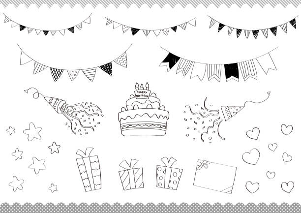 Line drawing illustration set of birthday cake with garland and gifts. Line drawing illustration set of birthday cake with garland and gifts.Shapes created with a brush in Illustrator. anniversary drawings stock illustrations