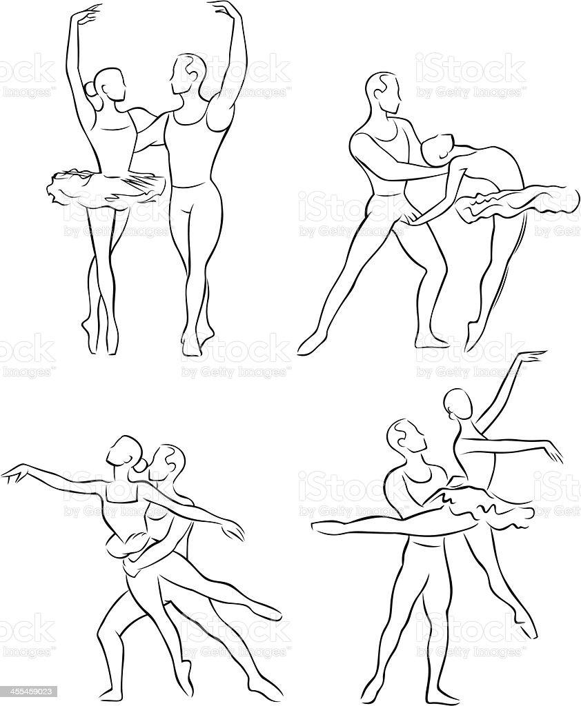 Line Drawing Dancer : Line drawing of ballet dancers stock vector art more