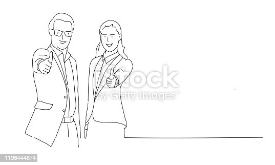 Line drawing of couple showing OK or approval sign with thumb up. Vector illustration.