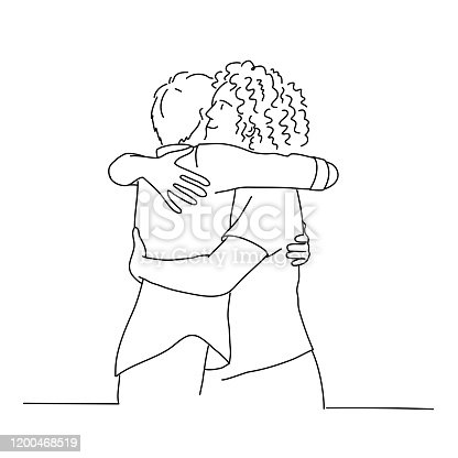 istock Line drawing of cuddling men. 1200468519