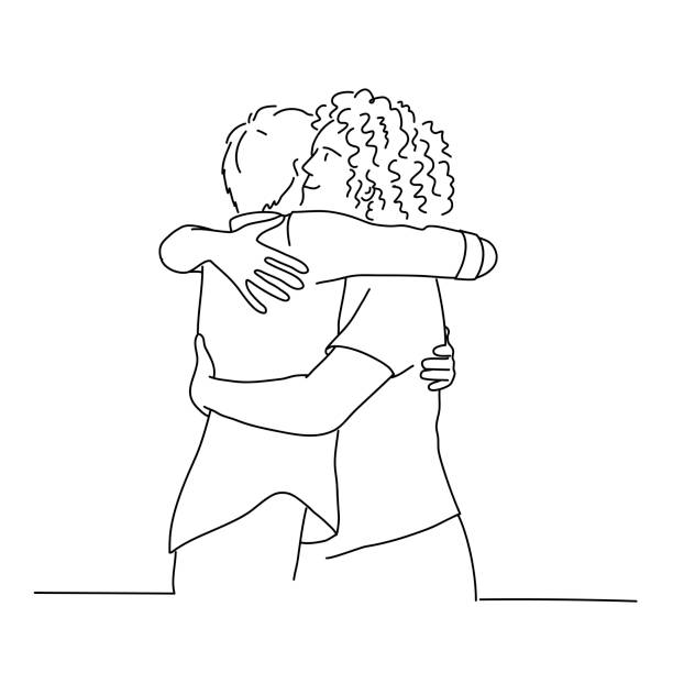 Line drawing of cuddling men. Line drawing of cuddling men. Tourism, travel, people, leisure and teenage concept. Vector illustration. hug stock illustrations
