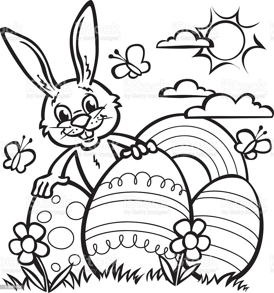Line Drawing Of Easter Rabbit And Large Easter Eggs Stock Vector Art ...