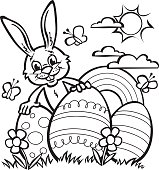 Easter Rabbit for coloring in.
