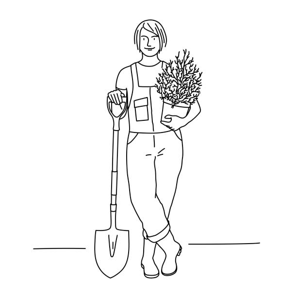 植物とシャベルを持つ庭師の女性の線画。 - 環境問題点のイラスト素材/クリップアート素材/マンガ素材/アイコン素材