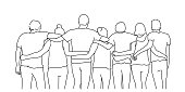 Line drawing of group of happy friends hugging. Tourism, travel, people, leisure and teenage concept. Vector illustration.
