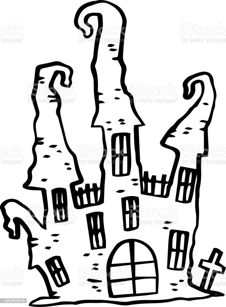 Line Drawing Of Halloween Castle Stock Illustration Download Image Now Istock