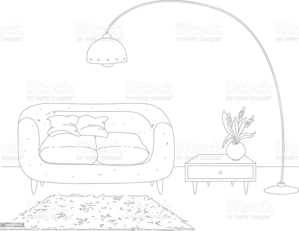 Line drawing of living room interior royalty-free stock vector art