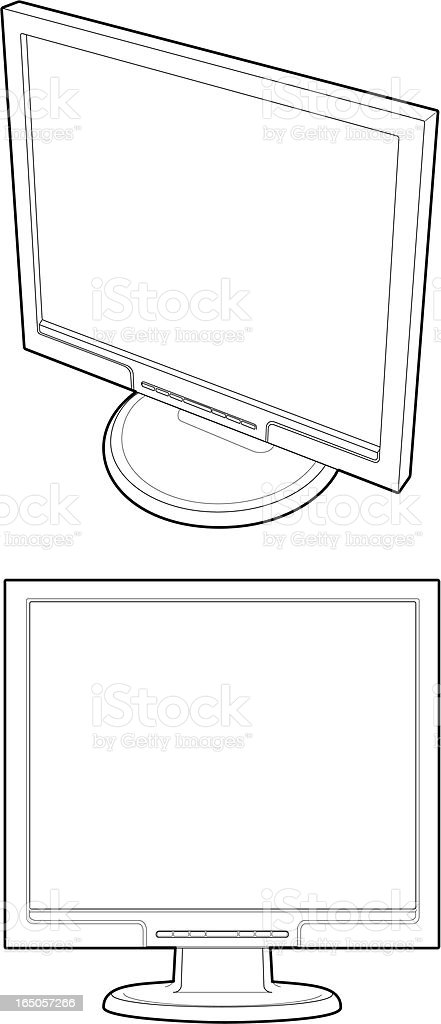 Line Drawing of Monitor royalty-free stock vector art