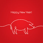Line drawing of pig. Happy new year