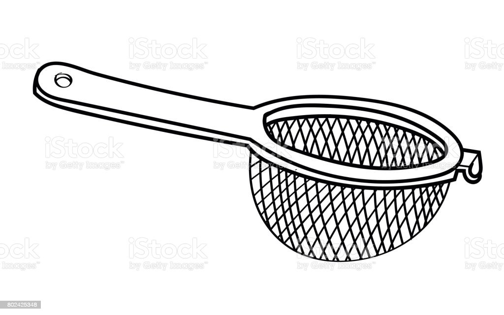 Line Drawing of Sieve -Simple line Vector vector art illustration