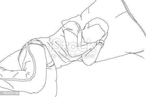 A line drawing of someone sleeping