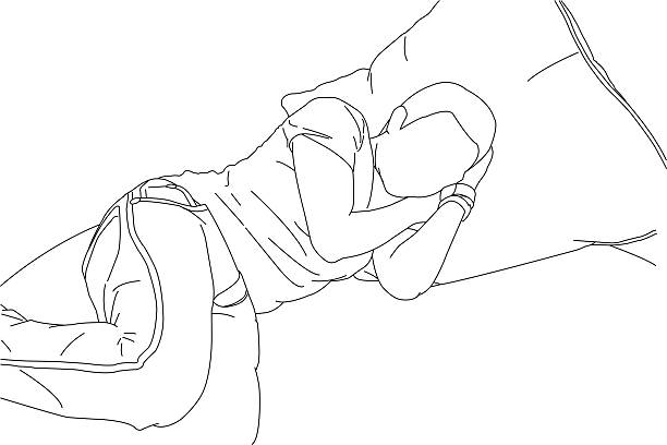 a line drawing of someone sleeping - hibernation stock illustrations