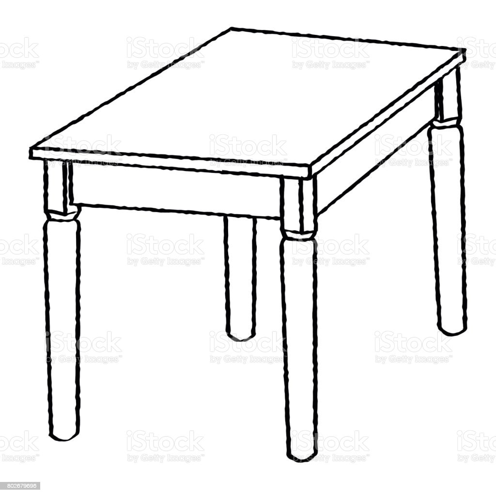 Line Art Table : Line drawing of table simple vector stock art