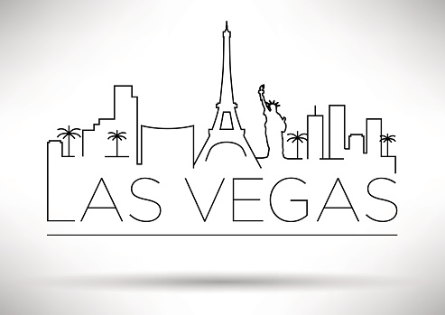 Line drawing of the Las Vegas skyline with the city's name