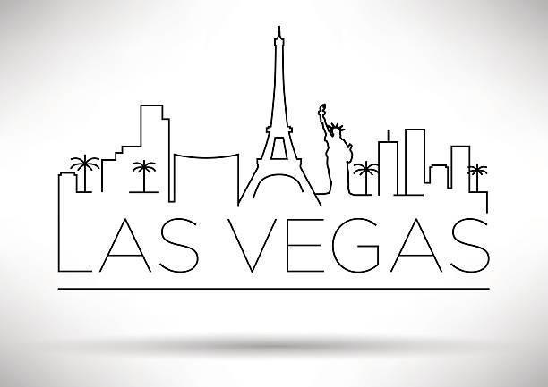 illustrazioni stock, clip art, cartoni animati e icone di tendenza di las vegas città silhouette di design tipografico - las vegas